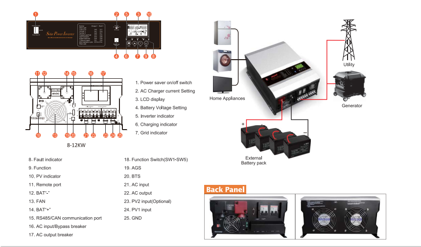 10KW 48V 230V Solar Hybrid Power Inverter for Home Use