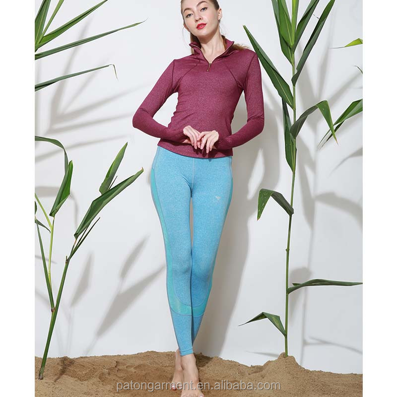 Wholesale fashion POLO zip t shirt design yoga apparel set women fitness yoga wear
