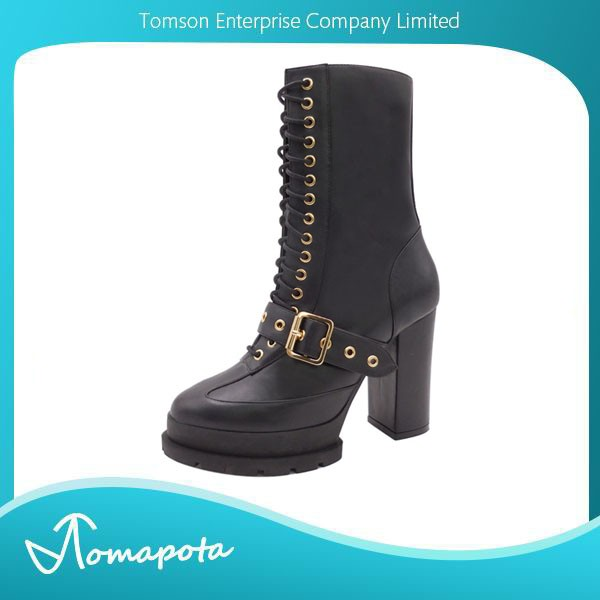 Women black mid calf with gold buckle lace up platform block heel boots