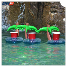 Custom-made PVC inflatable ice bucket, Inflatable water cup holder, coconut trees Inflatable cup hole