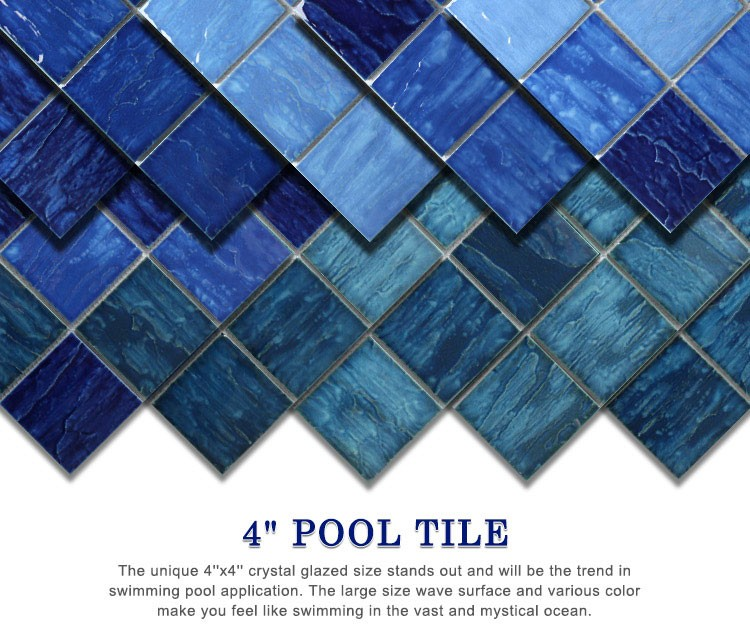 4 X4 Wave Dark Blue Crystalline Glazed Porcelain Pool