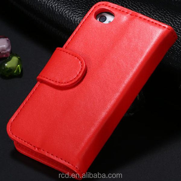 Hot New Top Quality Flip Leather Case for IPhone 4 4S 5 5S 5C ID Card Pouch Stand Holder Wallet Photo Album Cover Soft RCD02342