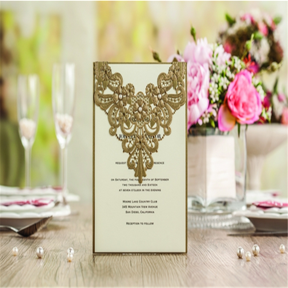 2016 Latest Designs Luxury LaceChinese Wedding Invitation Card