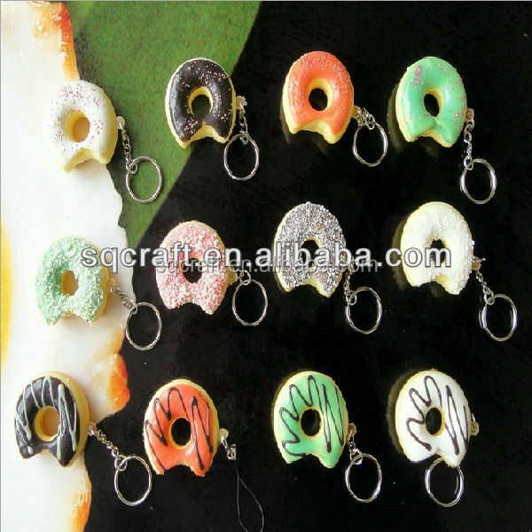 Fake doughnut/donut food for promotion gifts as keychains/keyrings/Fridge magnet series/Nice toys for children to play with