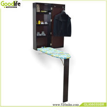 Mirrored wall mounted foldable ironing board cabinet