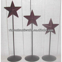Country primitive craft outlet burgundy metal barn star with stand barn star pedestals