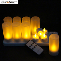 Yellow Lights Rechargeable Led Tea Lights Candles With Remote