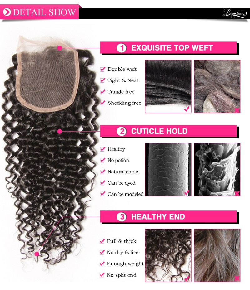 2015 Hot Aliexpress Hair Lace Closure Jerry Curl Kinky Curly Can Part Anywhere
