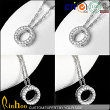Hot Style Latest Design Circle Round Pendant Silver Chain Necklace Fashion Wedding Jewelry Ring Holder Necklace For Couple