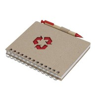 Custom Recycled Kraft Paper Spiral Notebook with Pen inside
