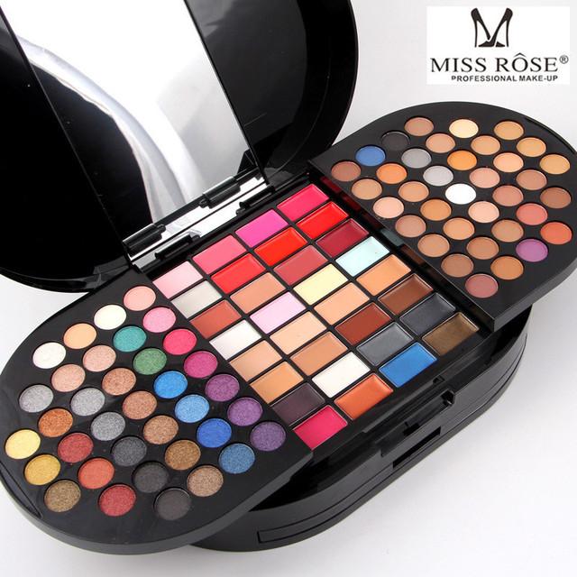 Miss Rose 130 Color Face Shimmer Matte Nude Eyeshadow Cream Palette Lipstick Concealer Bronzer Blush Powder Lady Makeup Box