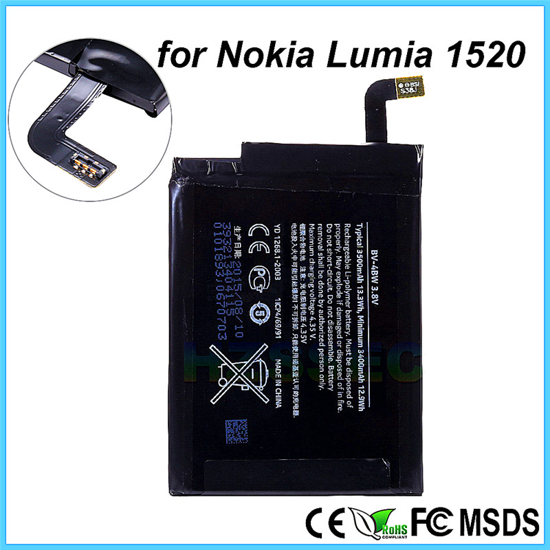 100% Original 3500mAh Batterie Replacement Mobile Phone Battery For Nokia BV-4BW BV4BW Lumia 1520