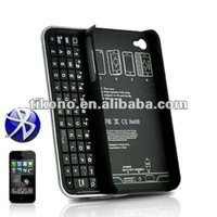 Wireless Bluetooth Sliding Keyboard + Rubberized hard shell case for iphone 4