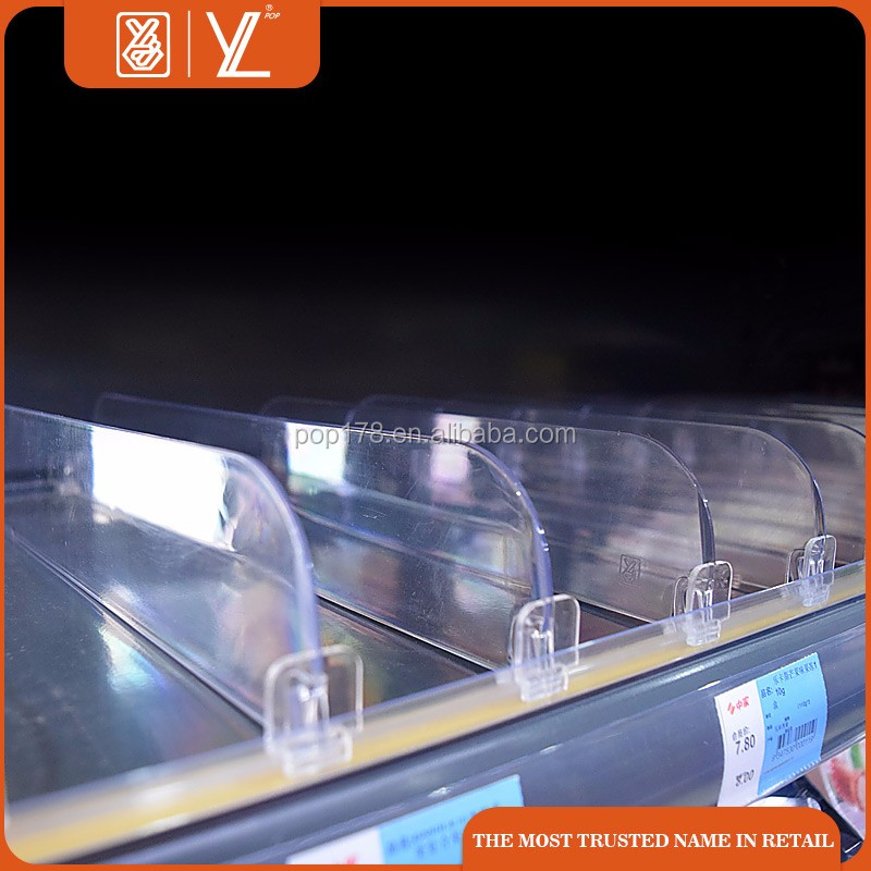 Supermarket plastic shelf pusher system clear shelf divider