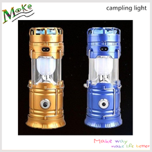 Solar power telescopic rechargeable led lamp outdoor mini camping lantern hiking emergency USB fan light