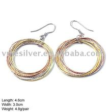 EZ-383 Wholesale 925 Sterling Silver Hook Earring with 3 Color Plated Colorful Earring