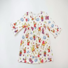 Bulk wholesale kids clothing fashion design ruffle half sleeve fancy small girls boutique dress with cute pattern print