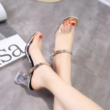 HFCS014 Fashionable transparent high heel shoes latest ladies slippers shoes and sandals