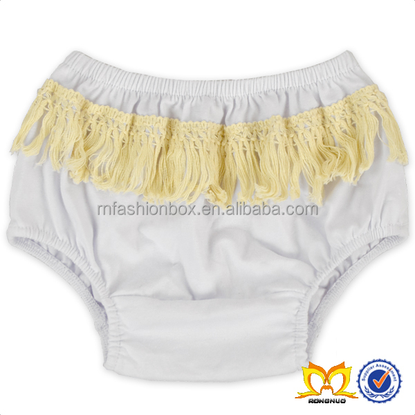 Toddler White Cotton Tassel Bloomer Baby Diaper Cover Bloomers Knit Pants
