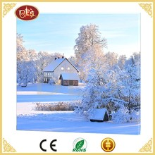 Winter landscape home goods wall art, led candle canvas painting