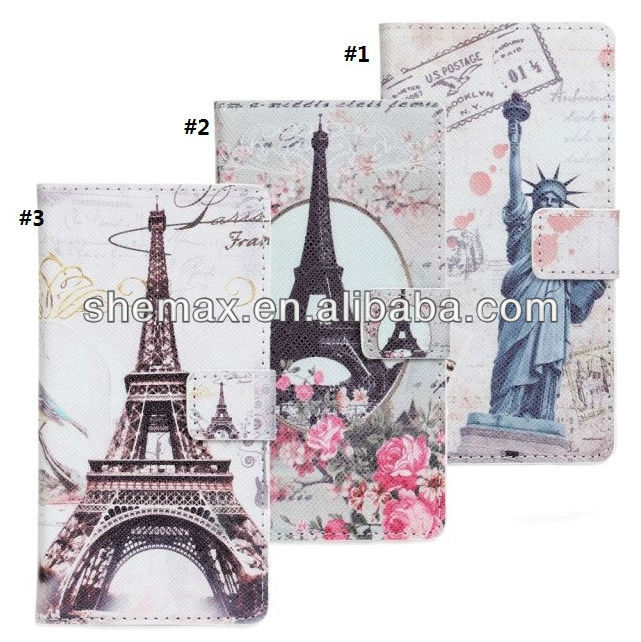 Factory price of Paris Eiffel Tower Wallet Leather Case For Sony Xperia Z1 L39h with Stand