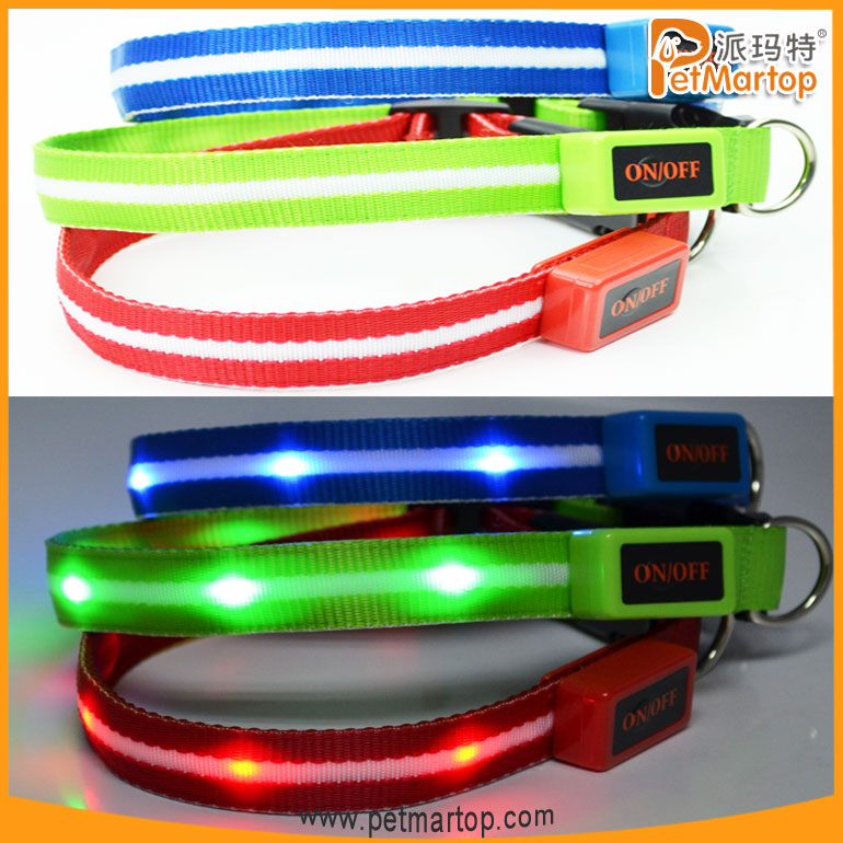 unique products 2016 TZ-PET6100 dog collar nylon dog collars lighted dog collar