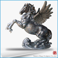 Outdoor Life Size Bronze pegasus Horse Statues animal sculpture
