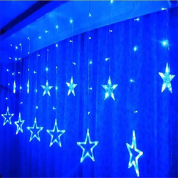 Cheap 3m x 3m Battery Operated Powered Curtain Blue Fairy Lights