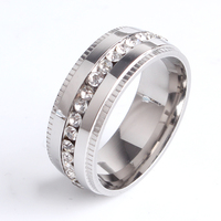 Wholesale 316l stainless steel gear crystal zircon ring, titanium steel design ring