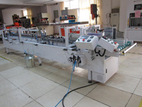 automatic plastic boxes container gluing and pasting machine.PET boxes PUR hot melt gluing machine