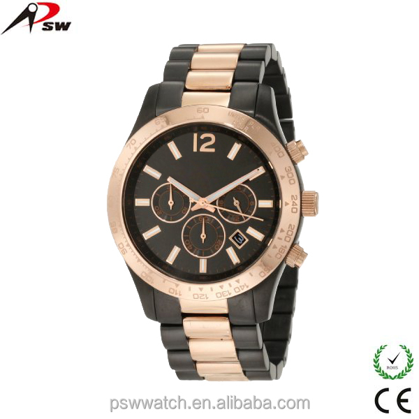 Latest model style design for ladies alloy watches black mix rose gold wrist watch