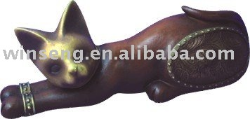 Polyresin Bronze cartoon cat figure