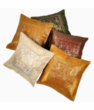 BUY INDIAN ETHNIC INDIAN ANTIQUE SILK SARI BROCADE CUSHION COVERS
