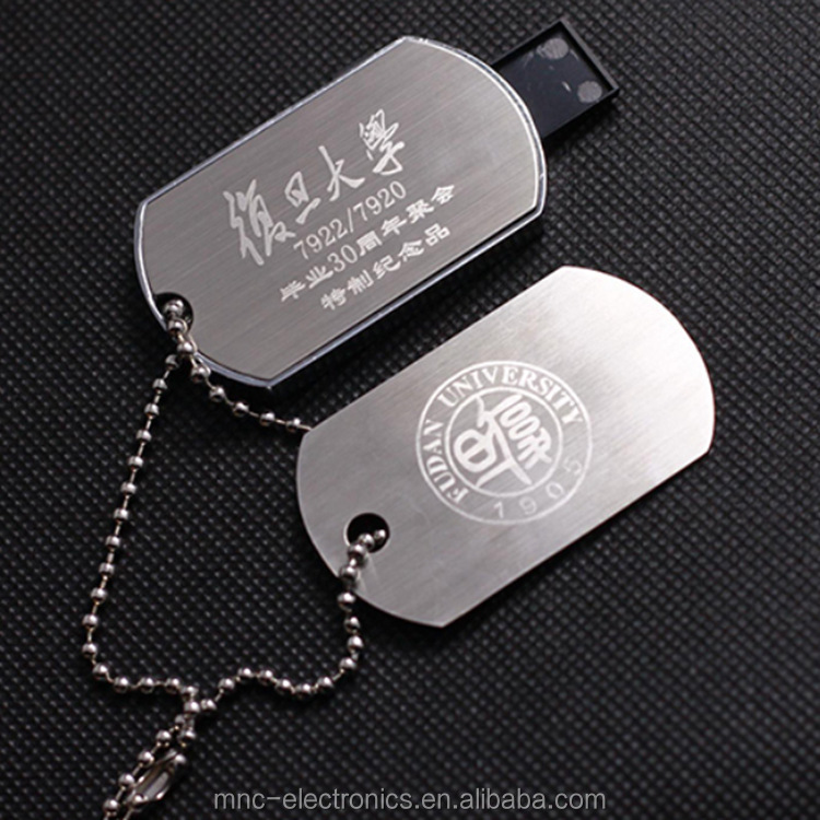 Promotion gift push pull dog tag shape usb flash pen drive custom logo 2G 64G optional capacity memory stick