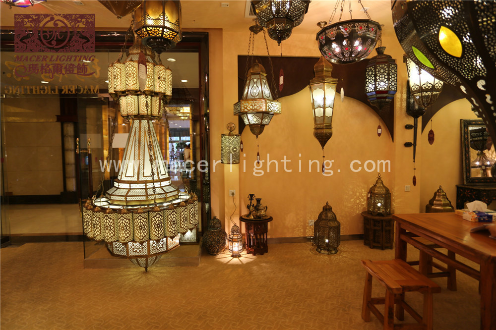 big Arabic Moroccan antique hollow-out brass pendant lamp