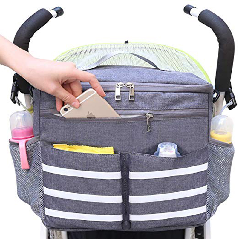 Hot sale parents stroller organizer travel bag with shoulder strap insulated bottle holder