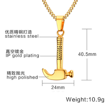 Hip Hop Jewelry 316L Stainless Steel Gold Hammer Pendant Jewellery Necklace Jewelries