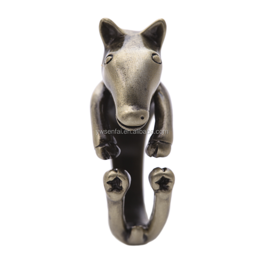Wholesale alibaba beautiful horse design ring, alloy antique brass plated horse ring