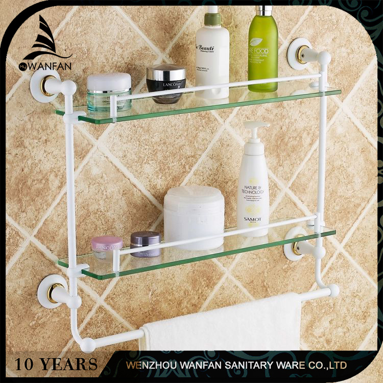 wall mounted white dual tier brass bathroom glass shelf bathroom corner shelf with towel bar ST3598C