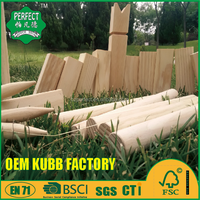 wooden kubb game set family game for outdoor game