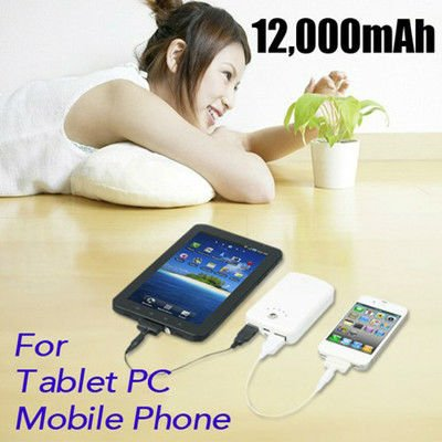 12000mAh Universal USB output Portable External Battery Mobile Power Bank