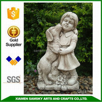 fiberclay 60cm height girl with dog statue