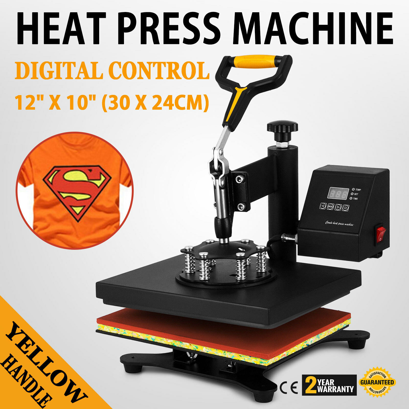 "Heat Press Machine 12""X10"" Transfer Sublimation T-Shirt Cap Plate Hat Swing-away"
