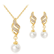 Fashion Women Crystal Pearl Necklace Earrings Wedding Party Jewelry Sets