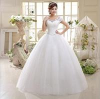 New design korean big yards lace strap wedding dresses