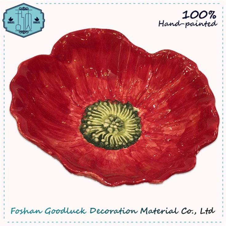 Hand Made Sketch Poppy Red Ceramic Biodegradable Dry Fruit Plate
