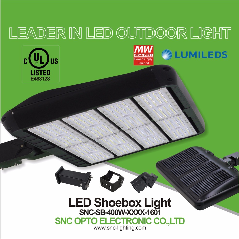 Best price 130LM/W 400W shoe box pole UL approved IP65 SNC parking lot lights LED area light Magnesium + Aluminum housing