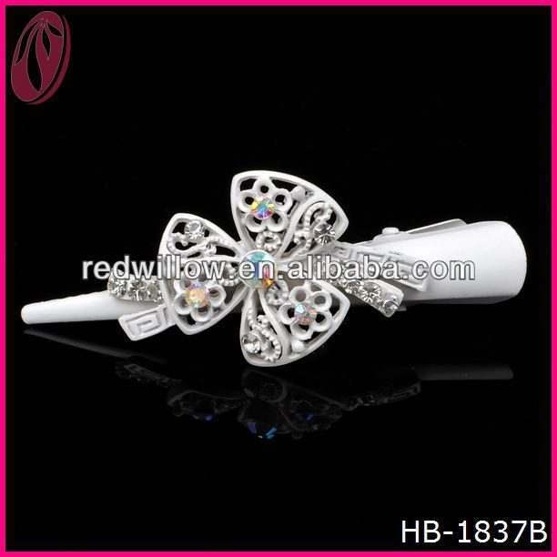 Peruvian White Three Leaf Crystal Hair Clips In Hair Extension For Bridal With Snood Net Wholesale In Yiwu