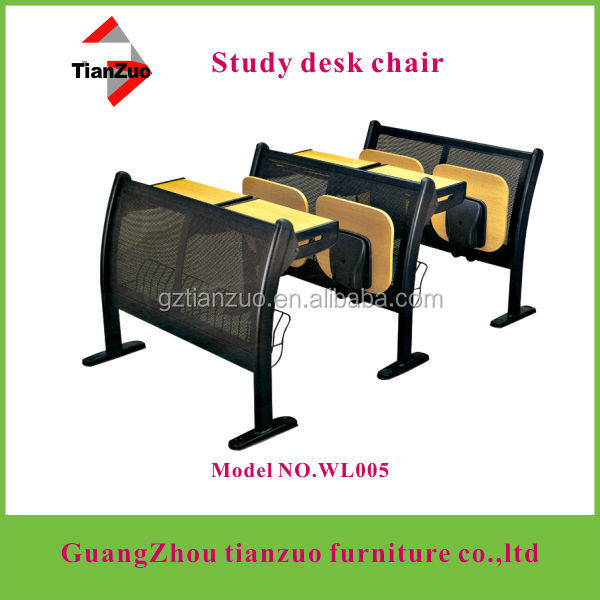 (school furniture factory)steel frame lecture used student desks with MDF table