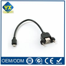 Micro USB 5Pin to B Female Panel Mount Printer Scanner Cable OEM Cable